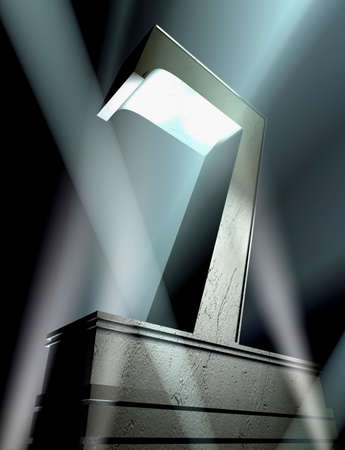 pedestal: Number seven in silver letters on a silver pedestal