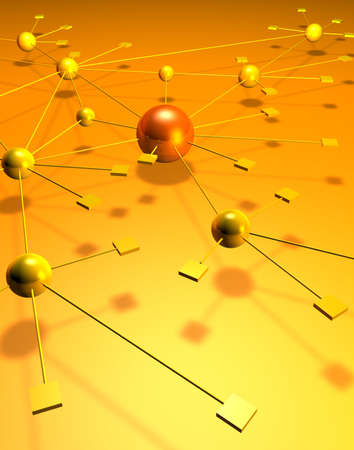 A network depiction with squares and balls on a yellow orange background photo