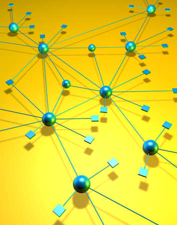meshwork: A network depiction with blue green squares and balls on a yellow background Stock Photo
