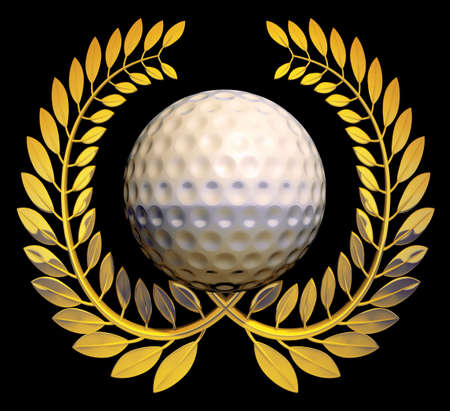 Golf ball in the middle of a golden laurel wreath on a black background  Stock Photo