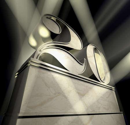 20: N�mero veinte en letras de plata sobre un pedestal de plateado