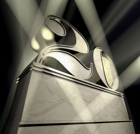 20: Number twenty in silver letters on a silver pedestal