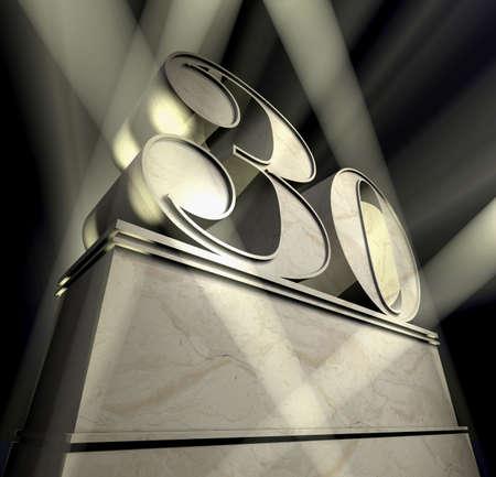 aniversario: N�mero treinta en plata letras sobre un pedestal de plata