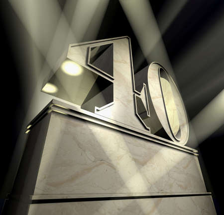 Number forty in silver letters on a silver pedestal