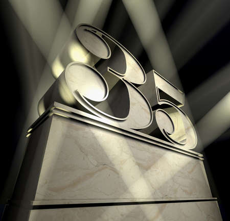 30 to 35: Number thirty-five in silver letters on a silver pedestal  Stock Photo