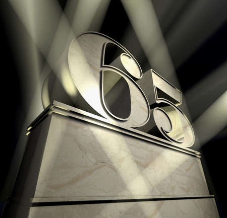 Number sixty-five in silver letters on a silver pedestal  photo