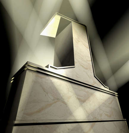 Number one in silver letters on a silver pedestal Stock Photo - 6828651