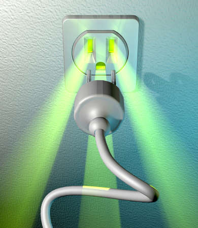 amperage: Abstract depiction of green energy coming out from a socket at a white wall with plug and cable