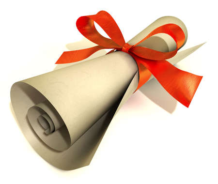 Paper roll with red ribbon at a white background photo
