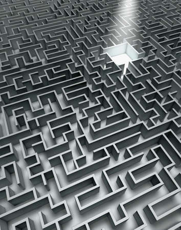 Labyrinth in grey with shades and sunbeam photo