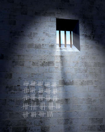 dungeon: Old prison cell with window, bars and calendar in sunbeam Stock Photo
