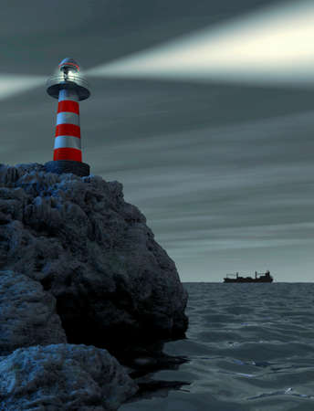 Red and white striped lighthouse on a rocket photo