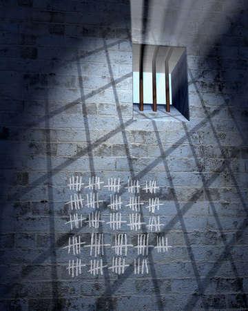 Ancienne cellule de prison avec fen�tre, bars et calendrier de sunbeam  Banque d'images