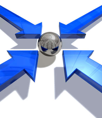 upward movements: Four blue  arrows pointing to a silver ball in the centre Stock Photo