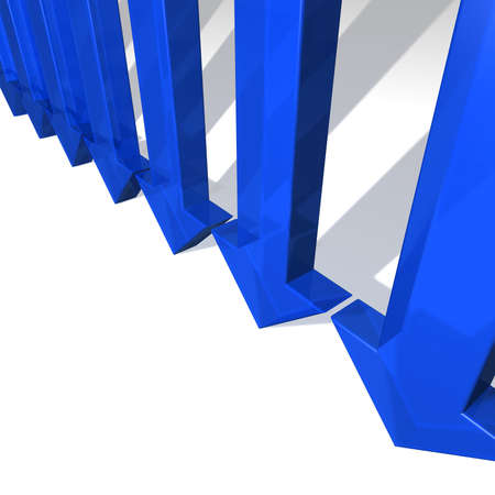 downwards: Seven blue arrows pointing downwards  Stock Photo