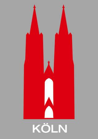 Ilustración de las dos torres de la Catedral de Colonia en rojo  Ilustración de vector