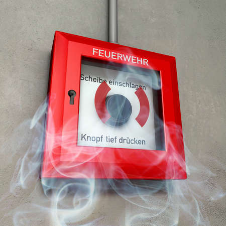 German fire detector in red and white at a grey wall in rising smoke photo