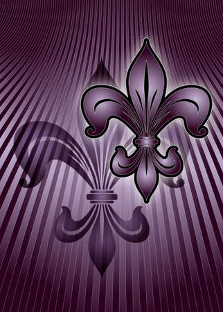 3 d illustration: Illustration of the lily emblem in purple on a striped purple background. 3 d illustration
