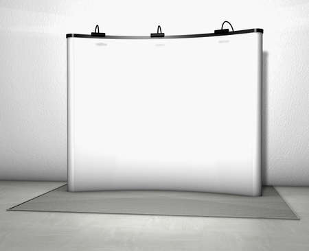 talk show: Trade exhibition stand with screen at a grey floor
