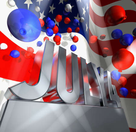 July 4 in silver letters on a silver pedestal and a lot of balloons in the national colours of the USA  photo
