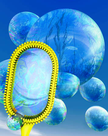 lightness: A group of light blue soap bubbles coming out of a yellow ornamental blower
