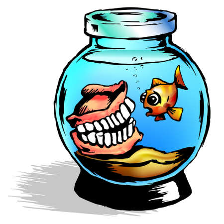 dentures: Illustration of a fish bowl with dentures and a single goldfish in blue water Stock Photo