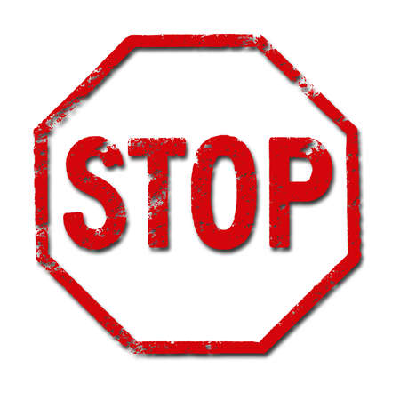 deter: Illustration of the underside of a stamp with the word STOP inside