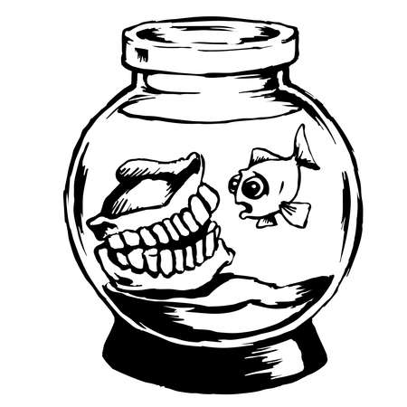 palate: Funny aquarium - Illustration in black and white of a fish bowl with dentures and a single goldfish