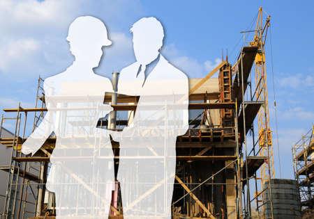 Chantier � l'ombre de l'architecte et le constructeur Banque d'images