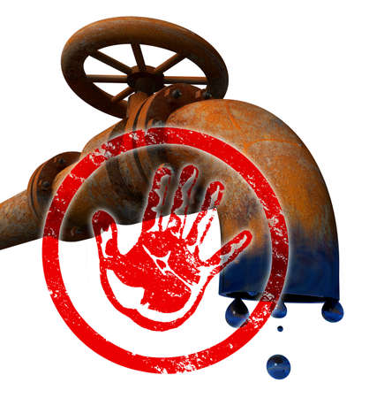 Stop oil production Rusty old oil pipeline with a hand print in red as STOP symbol on white background photo