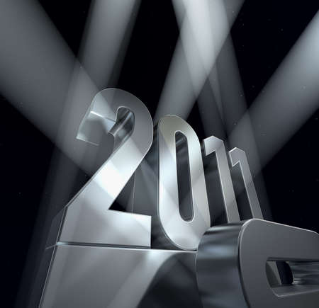 Number 2011 on a silvery pedestal   photo