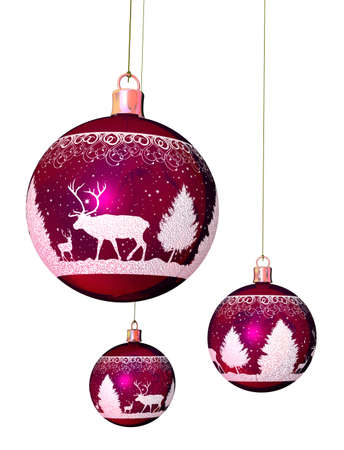 Christmas tree balls - One big and two small Christmas tree balls in  violet with reindeer ornaments and a white ribbon photo