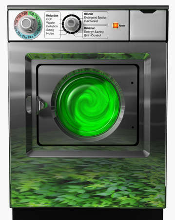Ecological washer Ecological washing machine isolated on a white background photo