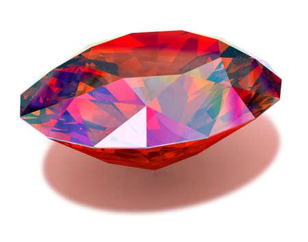 fascinação: Ruby - Red ruby at a white background Banco de Imagens