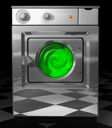 Ecological washer Ecological washing machine standing on black and white tiles isolated on a black background photo