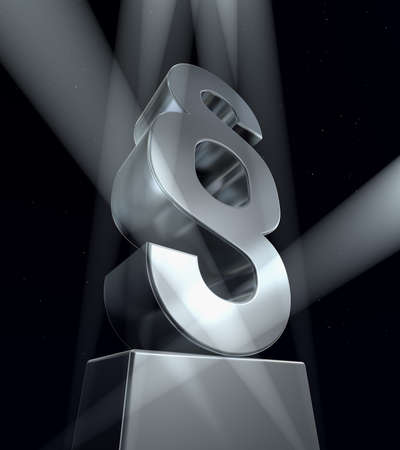 Paragraph sign Paragraph sign in silver on a silver pedestal on a black background Stock Photo - 8331705