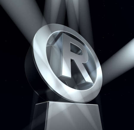 trademark: Registered trade mark Registered trade mark sign in silver on a silver pedestal
