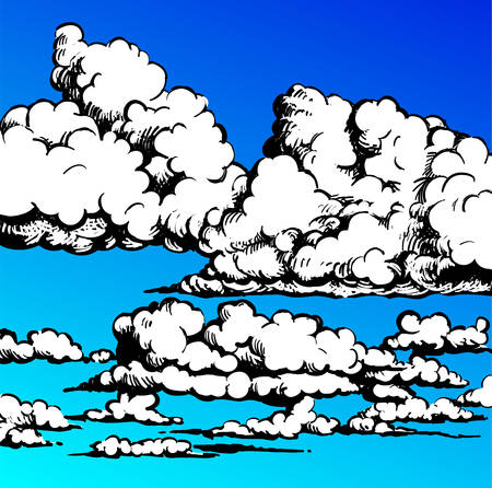 Clouds - Illustration of a group of clouds in the blue sky Çizim