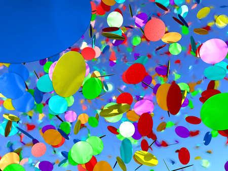 Confetti - confettis couleurs sous un ciel bleu