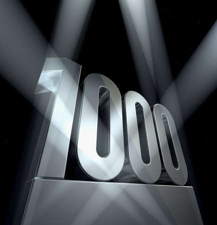 Number 1000 Number one thousand in silver letters on a silver pedestal  Standard-Bild