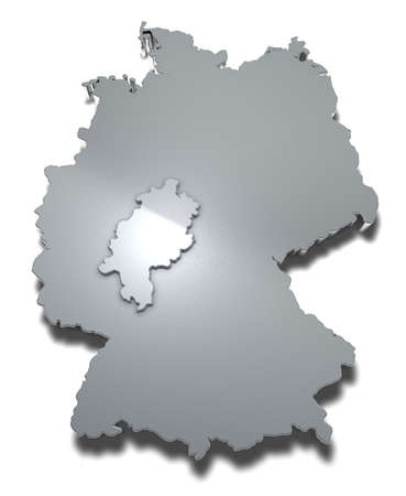 Hessen 3d map Graphical depiction of the federal state Hessen in Germany