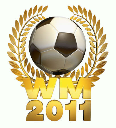 soccer wm: World Cup 2011- Soccer ball in black and white in the middle of a golden laurel wreath with the caption WM 2011 Stock Photo