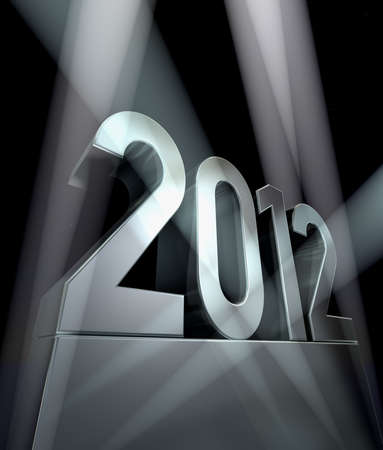 Year 2012 -  Number 2012 on a silvery pedestal  at a black background             photo