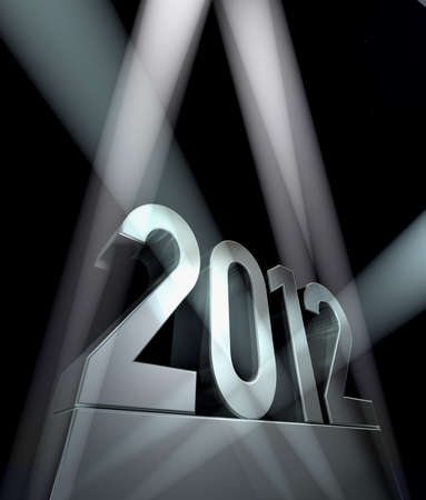 Year 2012 - Number 2012 on a silvery pedestal