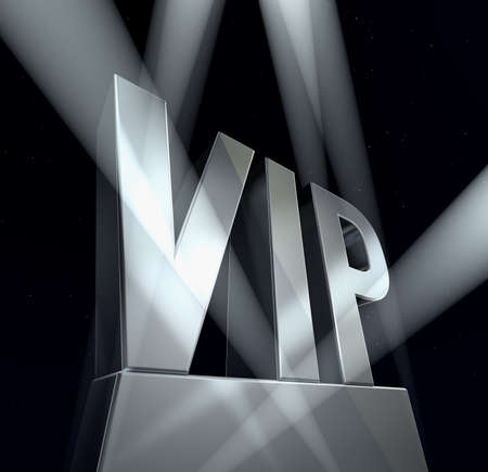 VIP sign VIP in silver letters on a silver pedestal at a black background Standard-Bild