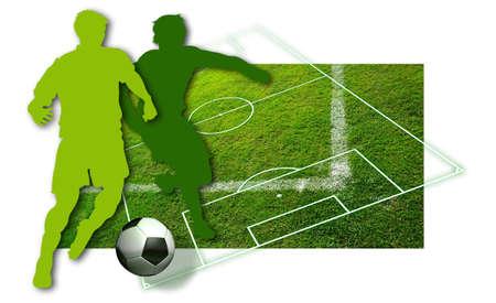 campeonato de futbol: Jugadores de f�tbol silueta de dos jugadores de f�tbol, una pelota en blanco y negro y partes de un campo de f�tbol Foto de archivo