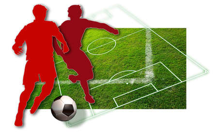 Soccer players Silhouette of two soccer players in red, a ball in black and white and parts of a football pitch Stock Photo - 8680497