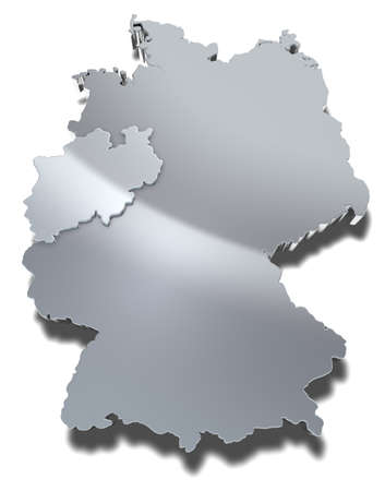 Nordrhein-Westfalen 3d map Graphical depiction of the federal state Nordrhein-Westfalen in Germany