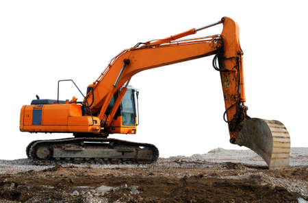 Excavator Excavator in yellow and orange colour working on brown soil