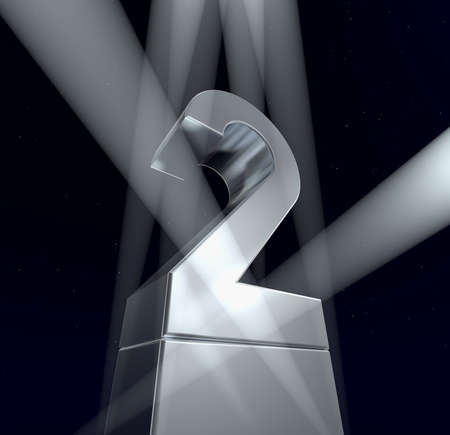 pedestal: Number two Number two in silver letters on a silver pedestal